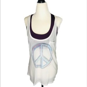 PINK Peace Sign Racerback White Tank Top